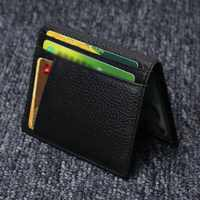 Monedero corto para hombre, Cartera de cuero de vaca, portatarjetas de crédito, Mini cartera, mejor venta-WT