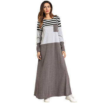 185754 Women's Middle East Europe and The United States Dress Color Stripe Splicing Dress Abaya Mujer Vestidos Ramadan Fashion