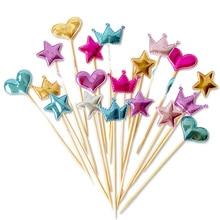 5 шт./партия, украшение для торта в виде милого сердца, звезды, короны, для дня рождения, кекс, флаг, детский душ, вечерние украшения для свадьбы