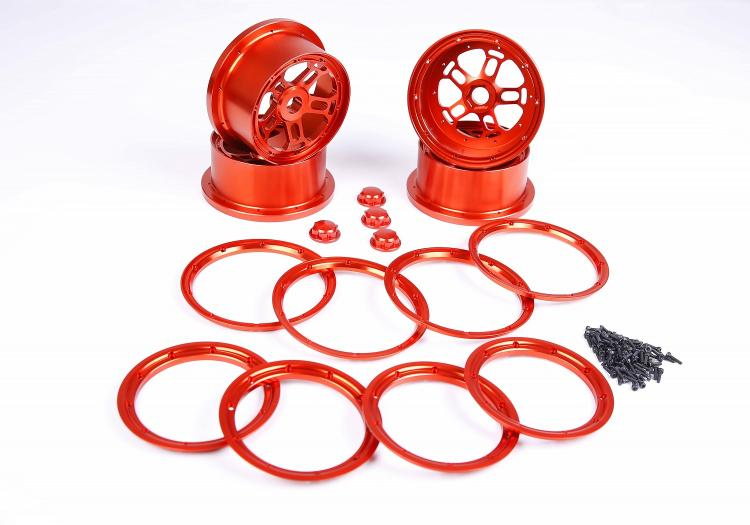 1/5 scale Losi 5ive-T / Rovan LT / KM X2 Alloy wheel hub gtbracing 2 front and 2 rear wheel hub rim with beadlock ring for 1 5 losi 5ive t rovan lt km x2