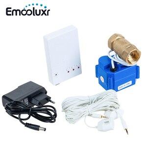 Zasilacz ue/USA przewodowy czujnik wycieku wody Alarm wykrywania wycieku wody z zaworem 3/4 ''i 2 szt. Wrażliwy przewód czujnika wody