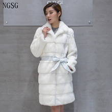 Beauty Fur Mink Coat Women Length Cloth With Bow Sexy Gray White Black Large Size 3XL 4XL Support Customized Female Coat 8008
