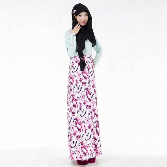 2019 New printed patchwork women maxi dress long sleeve Muslim Abaya . 196fbac53fad