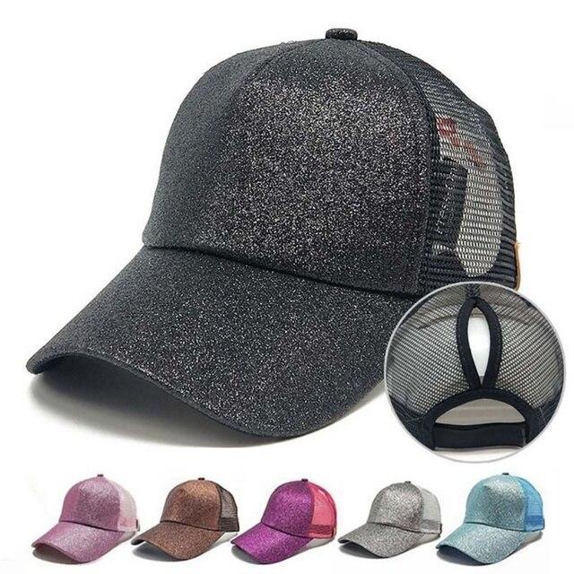 new 2018 Running Cap Women Men Bling Sequin Snapback Hat Summer Messy Bun Mesh  Hats Adjustable Sport Caps-in Tennis Caps from Sports   Entertainment on ... aba62e3c5acd
