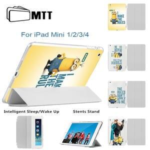 MTT For Ipad Mini 4 Cute Minions Jeans Body PU Leather Smart Case 3