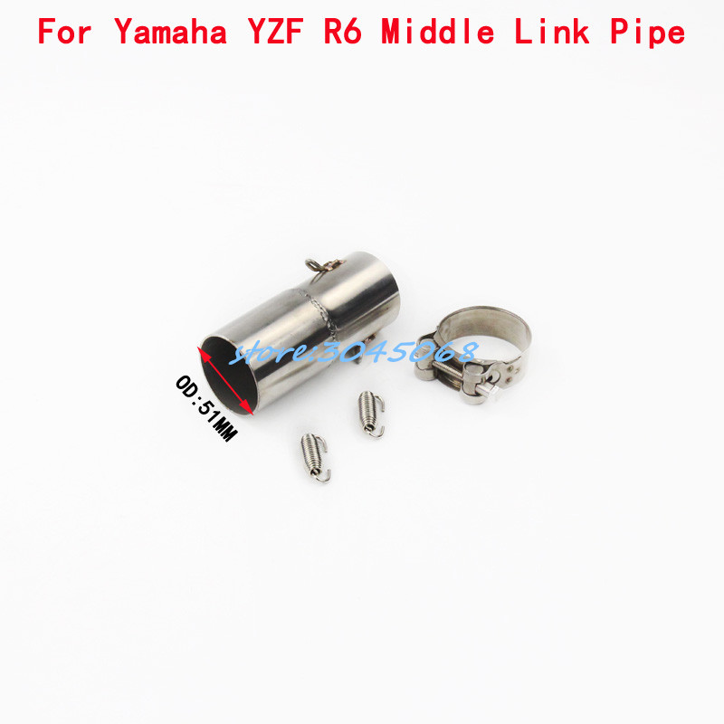 YZF-R6 Connector Slip On Stainless Steel Middle Link Pipe Motorcycle 51MM Exhaust Muffler Escape For YAMAHA YZF R6 2006-2014