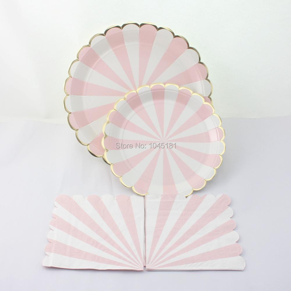 ipalmay Light Pink Striped Paper PlatesParty Paper Napkins Gold Foil Modern Chic Party Paper Plates Baby Shower Tableware Decor-in Disposable Party ... & ipalmay Light Pink Striped Paper PlatesParty Paper Napkins Gold ...