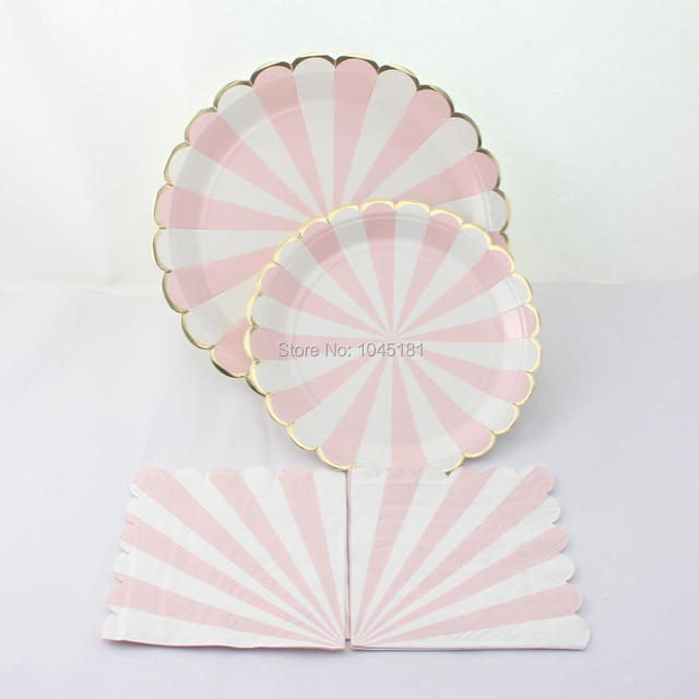 ipalmay Light Pink Striped Paper PlatesParty Paper Napkins-Gold Foil Modern Chic Party & ipalmay Light Pink Striped Paper PlatesParty Paper Napkins Gold ...