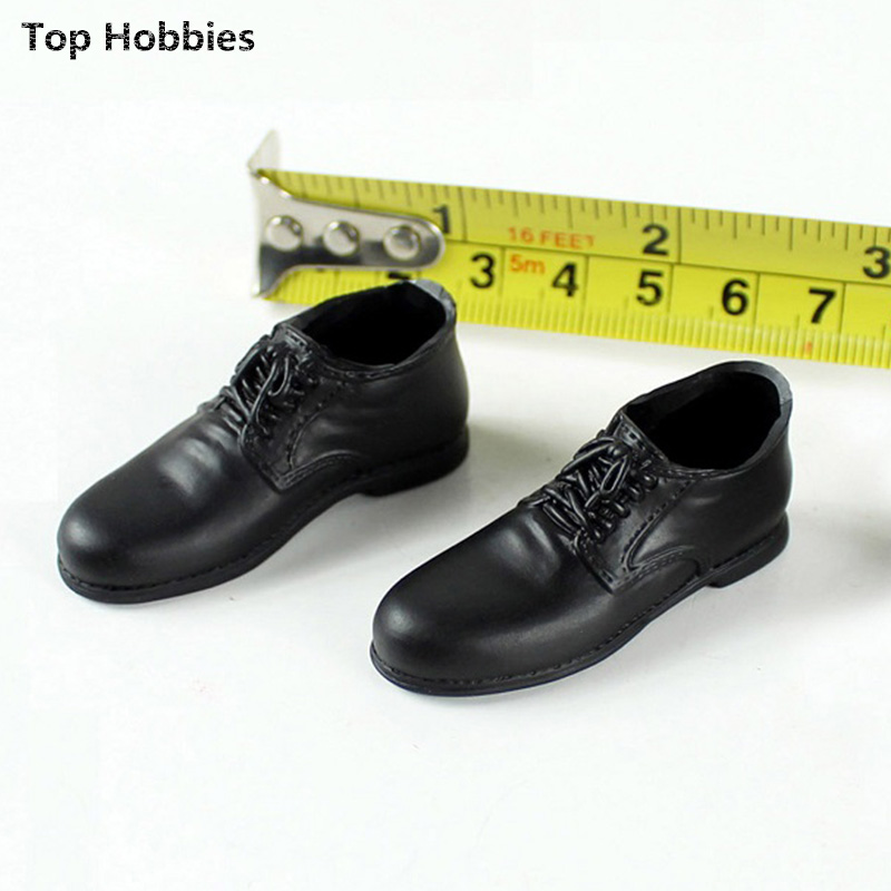 1:6 doll model accessories Round head mens black leather shoes Big shoes The hollow spot