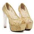 Толстые с высоких каблуках сексуальная кристалл с сандалии 2017 весной и летний новый сетки пряжи блестки женщины Корейской версии Европы и