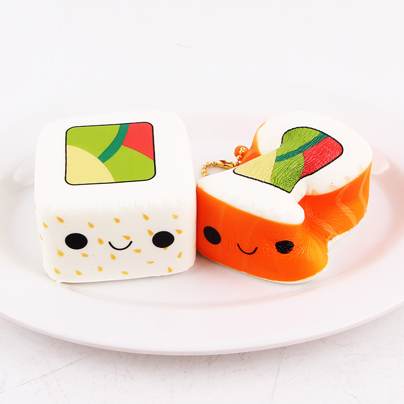 Mobile Phone Straps Mobile Phone Accessories New Kawaii Cartoon Face Pendant Stretchy Bread Squishy Cute Yummy Sushi Slow Rising Cake Kids Fun Toy Gift Phone Straps