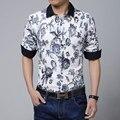S-5XL/новые 2016 мужчин печати досуг бизнес большой ярдов с длинным рукавом рубашки/мужская мода марка хлопок тонкой вскользь рубашки