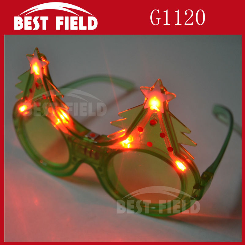 Free shipping 240pcs/lot 3mode green Flash LED Christmas tree glasses light up eyeglasses with Battery for Christmas supplies