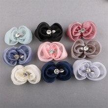 Free Shipping 20PCs/Lot Rhinestone Core Metal Leaf Decorated Chiffon Lace Ribbon Bow Patch Girl Women Hair Jewelry Ornament DIY