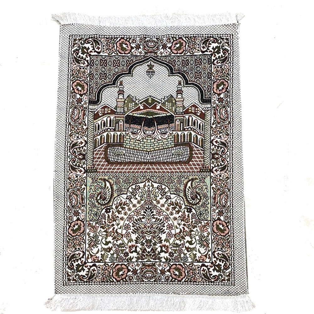 Rectangular Muslim Carpet Worship Pilgrimage Blanket Vintage Carpet Islamic Travel Prayer Carpet Home Bedroom Carpet Mat image
