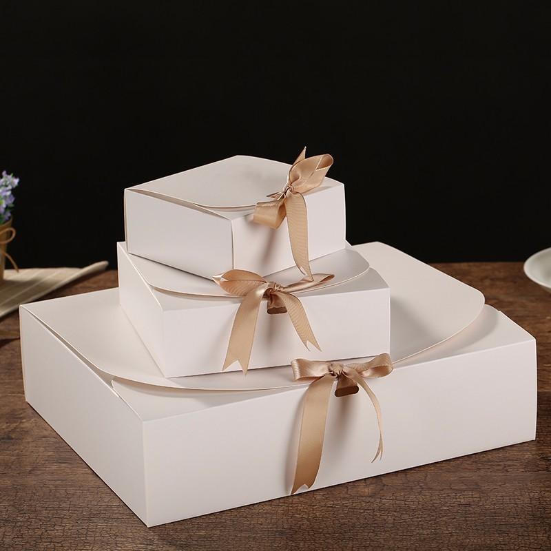 Image 5 - Multiple size Black White Kraft Paper Gift Box Package Wedding Party Favor Candy Boxes with Ribbon-in Gift Bags & Wrapping Supplies from Home & Garden