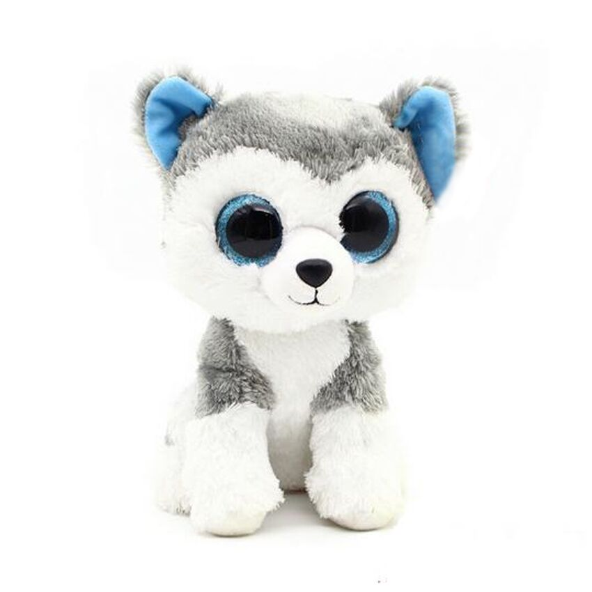 1PC 18cm 2015 Hot Sale Ty Beanie Boos Big Eyes Husky Dog Plush Toy Doll Stuffed Animal Cute Plush Toy Kids Toy hot sale short plush chew squeaky pet dog toy