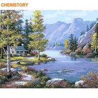 Chenistory frameless montanha rios diy pintura por números parede moderna arte imagem pintura caligrafia para decoração de casa 40x50cm|Pintura e Caligrafia| |  -