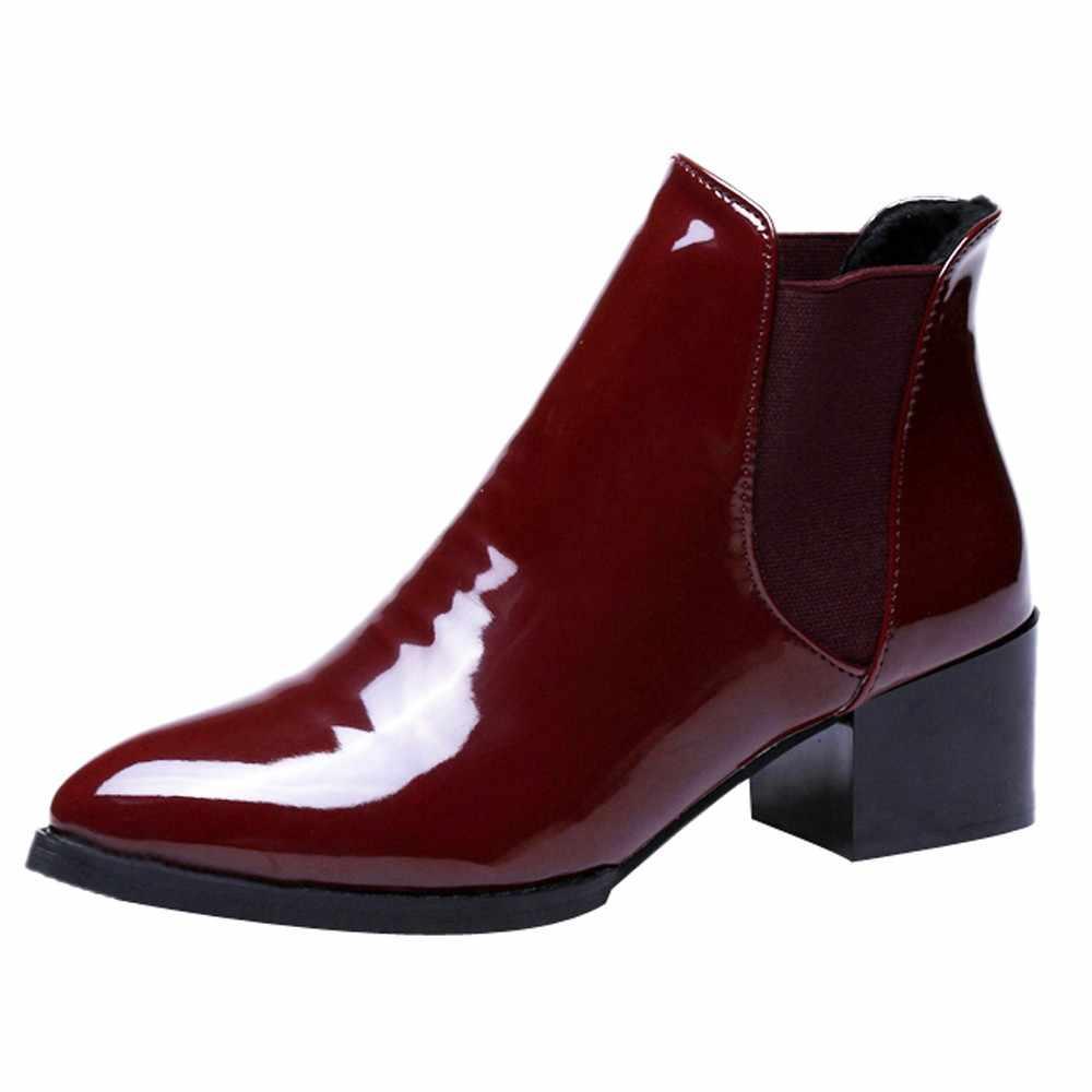 SAGACE 2020 Neue Ankunft Mode Schuhe Frauen Stiefel Elastische Patent Leder Stiefeletten Hingewiesen Niedrigen Ferse Stiefel Sexy Schuhe