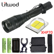Litwod Z90P75 Original CREE XLamp XHP70 32w 3200lm powerful Tactical LED flashlight torch zoom lens 2x 18650 battery Lantern(China)
