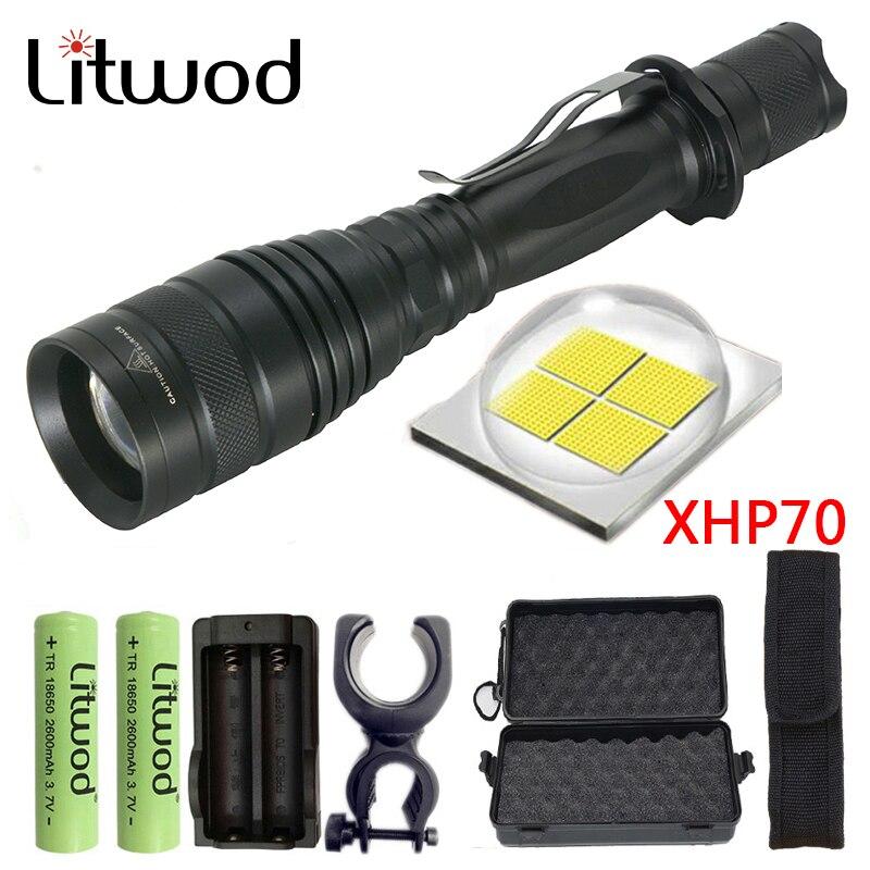 Litwod Z90P75 Originale CREE XLamp XHP70 32 w 3200lm potente Tattica HA CONDOTTO LA torcia della torcia elettrica zoom lens 2x18650 batteria lanterna