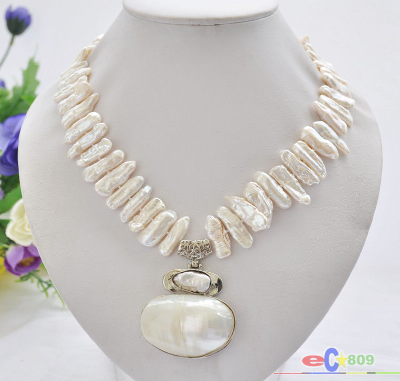 white biwa dens freshwater pearl necklace mabe pendant
