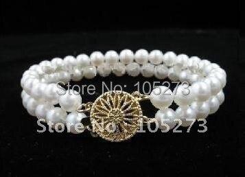 Удивительный! жемчужный браслет AA 7-8 мм белый цвет пресноводный жемчуг браслет модные ювелирные изделия NF212
