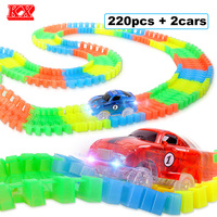 220pcs Set Flexible Track Car Toy With 2 Flashing Race Cars Glow In The Dark DIY