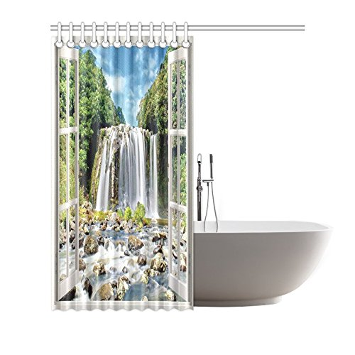 Aplysia Open Window Panoramic View to Famous Huge Waterfall Bathroom Accessories Shower Curtain with Hooks 72 Inches-in Shower Curtains from Home \u0026 Garden ...