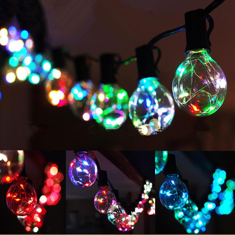 25Ft G40 Bulb Globe String Lights With Clear Bulbs Colorful For Backyard Patio  Lights Garland Wedding