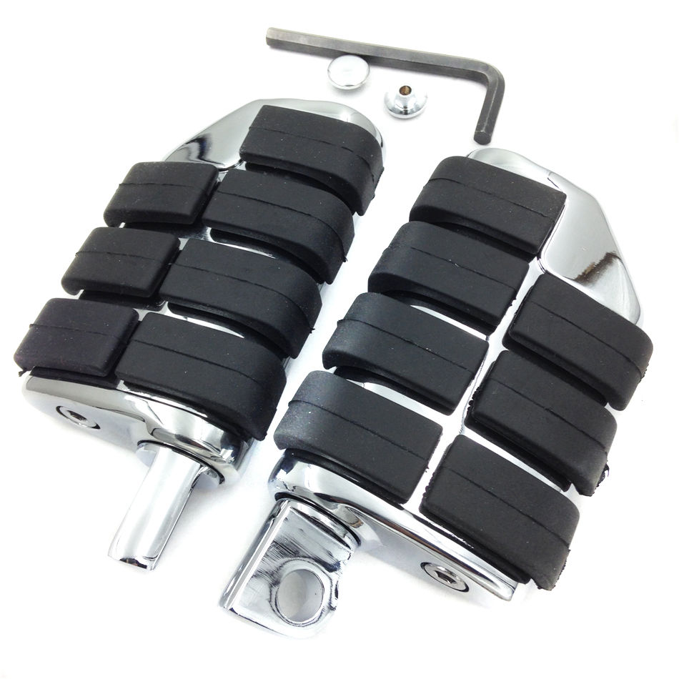 Chrome Aluminum Rubber Front Rear Motorcycle Foot Rests Foot Pegs Anti Vibration Skidproof With Male Mount