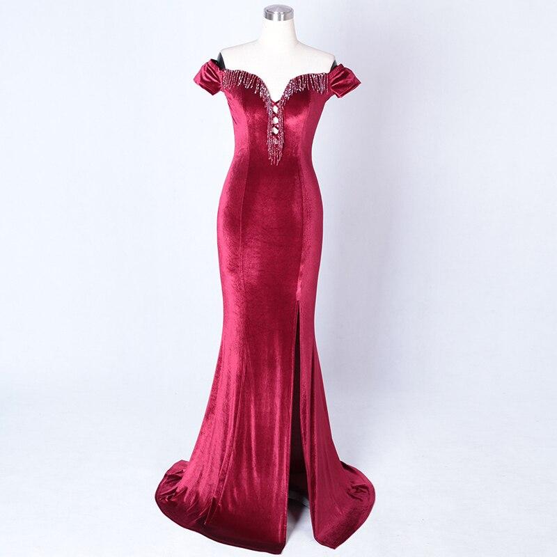 Velours rouge cristal perlé gland hors de l'épaule à manches courtes longue robe de sirène formelle robe de soirée Sexy tenue de club 2018