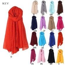 Новинка, Модный женский длинный шарф, 16 цветов, винтажные шарфы из хлопка и льна, большая шаль, хиджаб, элегантный однотонный, черный, красный, Whi
