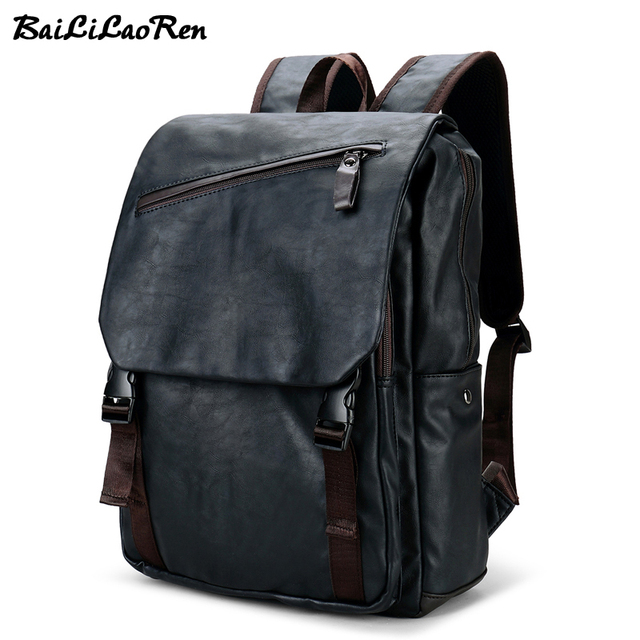 a8e15f9f851a BaiLiLaoRen Brand Fashion Men s Backpack PU Leather Backpacks Black Male  School Bags Laptop Backpack Man Casual Travel Backpacks