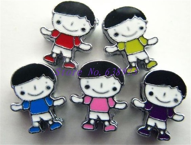100pcs 8mm five colour kid boy shape cute slide charms suit for diy wristband - Colour Kid