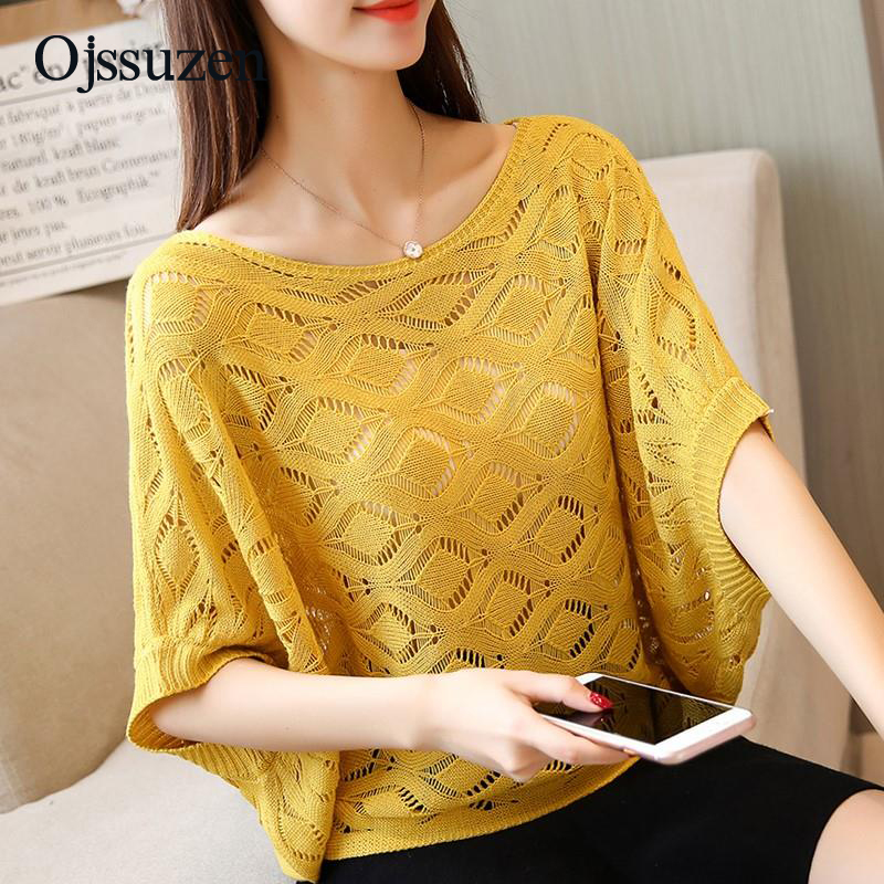New O Neck Women's Sweaters Knitted Summer Yellow Top Pink Blue Hollow Out Woman Knit Jumper Thin Loose Batwing Sleeve Pullover