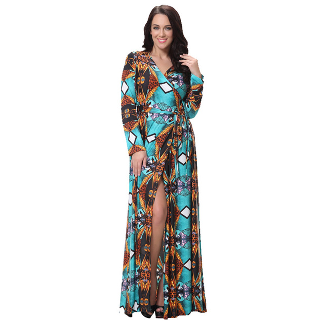 dc0a92e97f2e2b 4XL Plus Size Women Maxi Dress Vestidos Irregular V neck Front Split Print  Floral Women Dress Long Sleeve High Waist Beach Dress