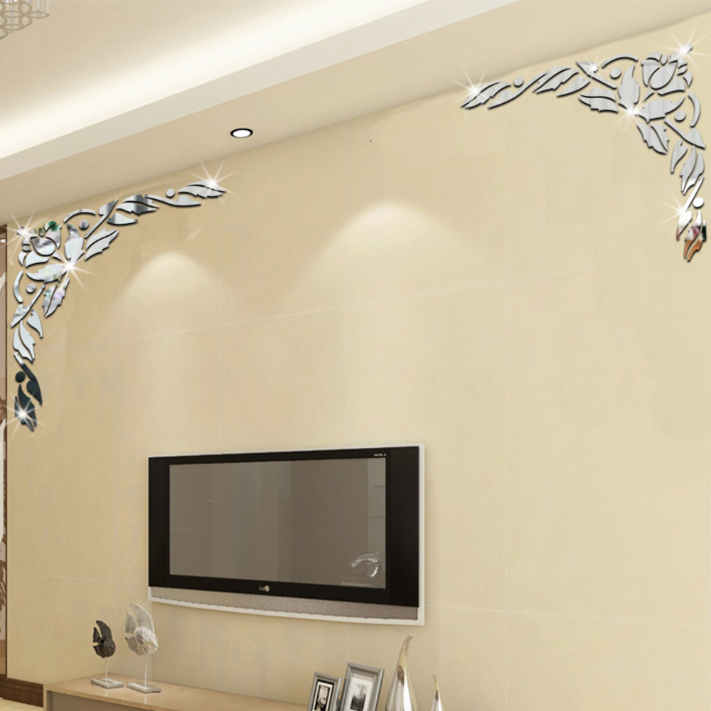 3d acrylic diagonal flower mirror wall stickers tv for Mirror window wall decor