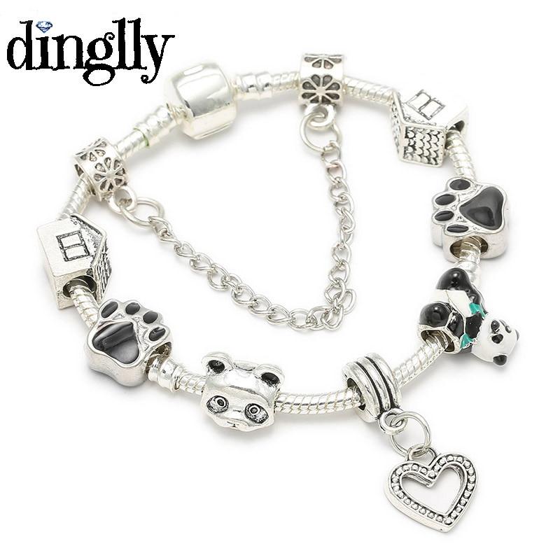 DINGLLY Cute Chinese Panda Bear Charm Bracelet For Women Girls Boys Lovers Europe Original Brands Bracelet Bangle Jewelry Gifts(China)