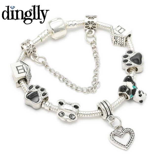 Dinglly Cute Chinese Panda Bear Charm Bracelet For Women Europe Original Pandora Jewelry Gifts