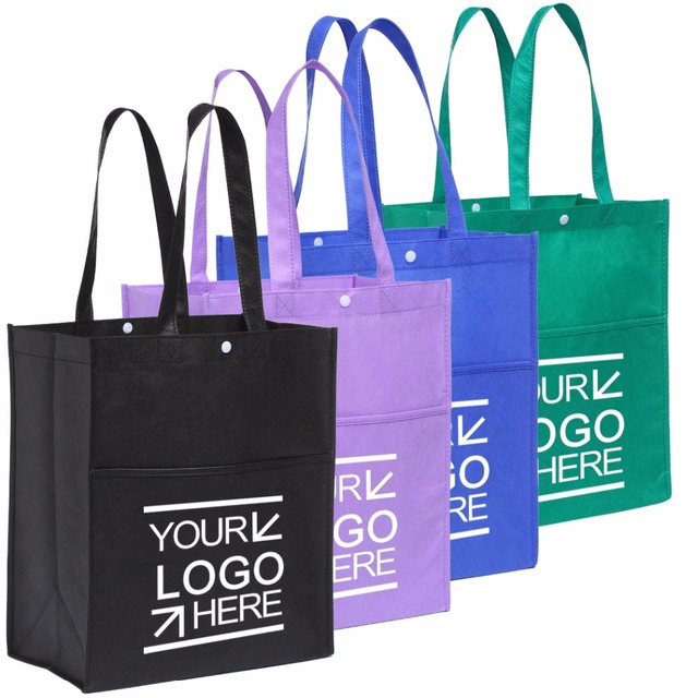100pcs Lot Custom Eco Ping Bag Fabric Grocery Recyclable Hight Design Tote Handbag With Pocket