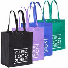 Bolsa para compras eco 100 pçs/lote, bolsa para mercearia reciclável de tecido eco personalizada com alça de mão