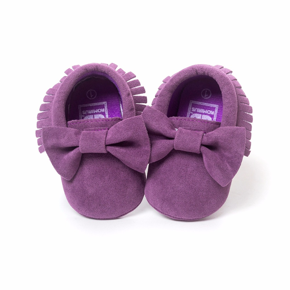 Fioletowe Baby Girl Buty Handmade Bow Suede Niemowlęce mokasyny Newborn First Walker Soft Toddler Shoe Hot Sale Babywear 0-2years
