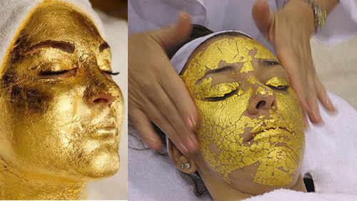 5 pz 4.33*4.33 cm Stagnola di Oro Maschera Copriletto Spa 24 k Oro Viso Maschera Della Tailandia Attrezzature per Saloni di Bellezza anti-Rughe Ascensore Viso di Cura di Bellezza