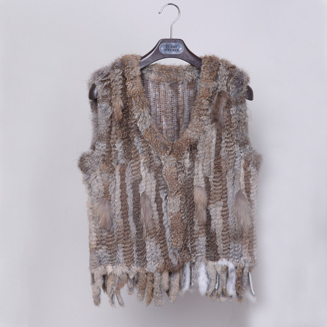 ce140987ad2 Online Shop Free shipping Knit knitted handmade Rabbit woman fur ...