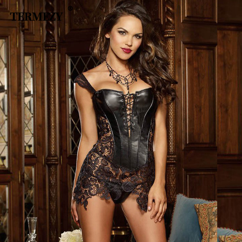 Sexy Lingerie Women Faux Leather&Lace  Corset Steampunk Corset Dress Waist Gothic Bustier Plus Size S 6XL back zipper 3 colors-in Bustiers & Corsets from Underwear & Sleepwears