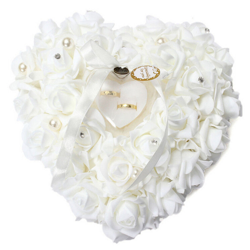 w 1pcs heart shape rose flowers valentines day gift ring box wedding jewelry ring bearer - Cheap Wedding Ring