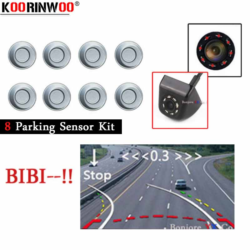 Koorinwoo Parktronic Dynamic Trajectory Car Parking Sensors 8 Probes Alert 4 Front Form Car Rear view