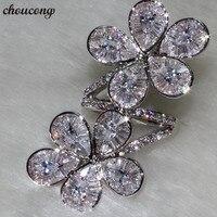 Choucong Роскошные качественные кольца в форме цветка из стерлингового серебра 925 пробы AAAAA cz вечерние Обручальные кольца для женщин украшения