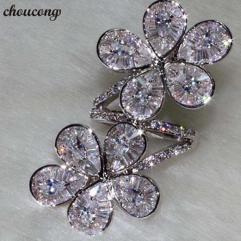 Choucong de luxe qualité fleur forme promesse bague 925 en argent Sterling AAAAA cz fête de mariage anneaux pour les femmes bijoux de doigt
